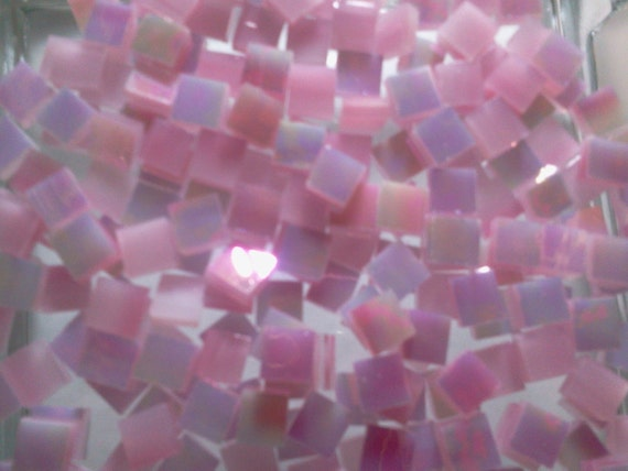 "Cotton Candy 100 1/4"" Tiny Tiles IRIDESCENT PINK Stained Glass Mosaic"