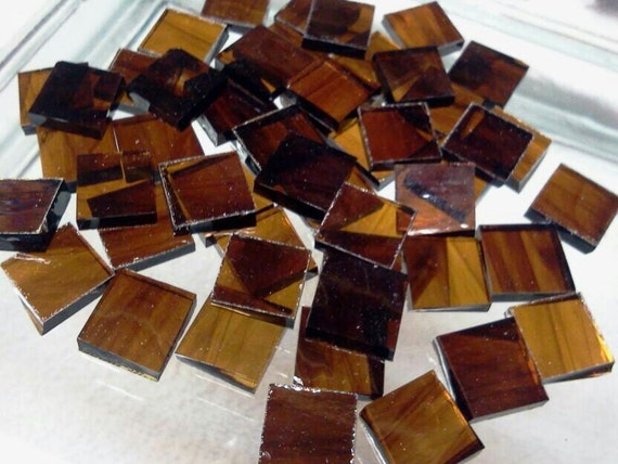 "100 Tiny 1/4"" ROOT BEER SMOOTH Dark Amber Stained Glass Mosaic Tile T3"