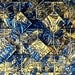 BRONZE & BLUE - Van Gogh Stained Glass Patterned Tile B11