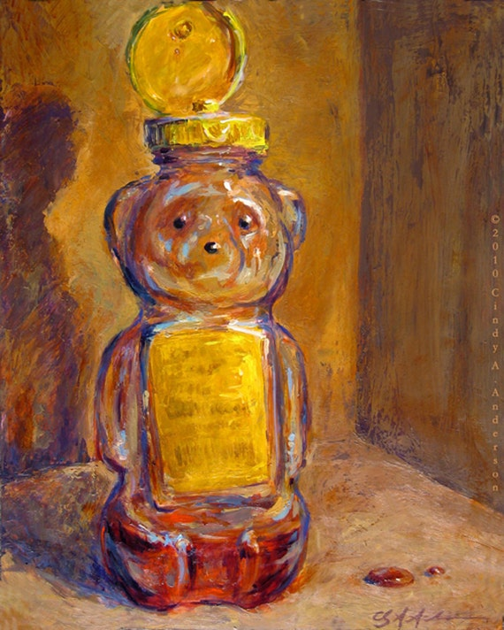 Goldenrod honey bear original painting