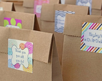 Custom Wedding Favor Labels Custom Goodie Bag Stickers Personalized Colorful Stickers Birthday Party Favors - Set of 24