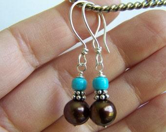 Chocolate Pearl and Sleeping Beauty Turquoise earrings