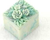 vintage light blue/green soapstone trinket box