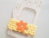 Yellow Crochet Cuff Bracelet with Orange Floral Button