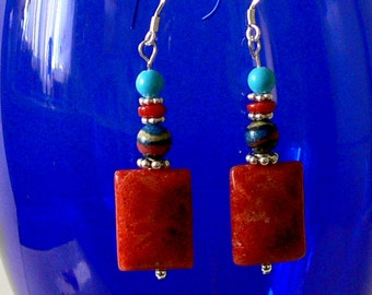 Apple Coral earrings, calsilica, sardinia coral and turquoise Southwestern style