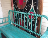 Antique aqua painted spool bench for Carolyn Summers