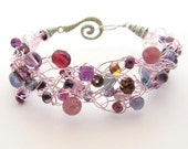 Crochet Wire Beaded Bracelet, Purple & Pastel Pink