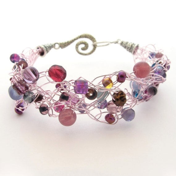 Crochet Wire Beaded Bracelet Purple Amp Pastel By