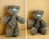 "OOAK Little miniature crocheted amigurumi gray Teddy bear 3.2"" Made to order."