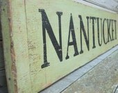 NANTUCKET Handpainted Rustic Wooden Beach Sign Large 38x7  Preppy Pink and Green