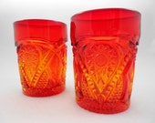 Viking Art Glass Yesteryear Tumblers Orange Mid Century Set of 2