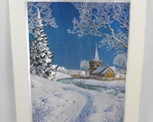 Foil Print Christmas Card Wilkinson Snow Church Cream Large Unused