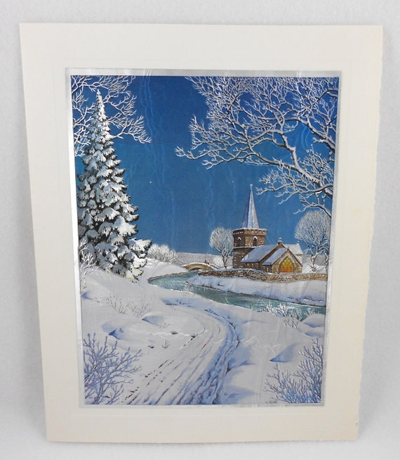 Foil Print Christmas Card Wilkinson Snow Church Cream Large Unused