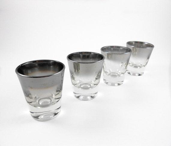 Mid Century Silver Fade Shot Glasses Set 4