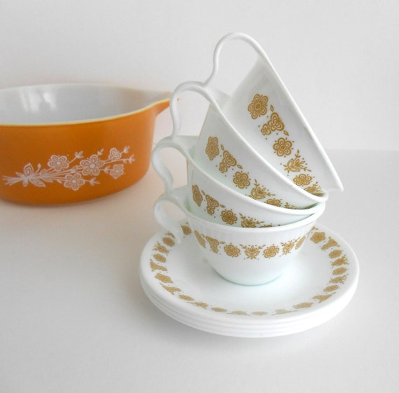 Corelle Butterfly Gold Hanging Mugs Cups Saucers Set 4