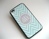 iphone case -  Blue and White Chevron iPhone 4 Case Gray Monogram  - iPhone 4 4S Cover- Blue and Gray - Flexible BLACK Rubber Case