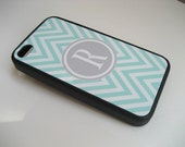 Blue and White Chevron iPhone 4 Case with Gray Monogram  - iPhone 4 4S Cover- Flexible BLACK Rubber Case