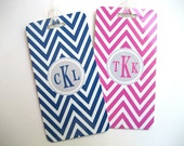 Luggage Tag - His and Hers Chevron Luggage Tags-  Custom Monogram Luggage Tag Set - Hot Pink - Navy Blue -  Personalized Luggage Tag
