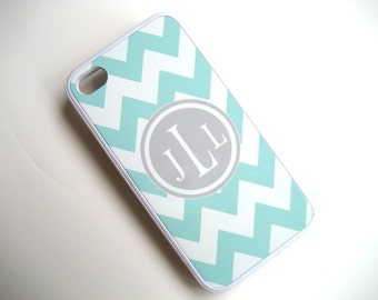 Light Blue and White Chevron iPhone Case with Gray Monogram  - iPhone Cover - Samsung Galaxy
