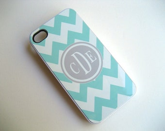 iphone case Light Blue and White Chevron iPhone 4 Case with Gray Monogram - iPhone 4 4S Cover- Blue and Gray - Hard Plastic WHITE Case