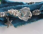 Ocean Blues Sari Silk Sea Glass wrap