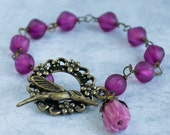 Hummingbird Bracelet Antique Brass Bracelet Magenta Glass Beads