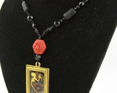 Dragon-Love Pendant with Black Bead and Cinnabar Necklace