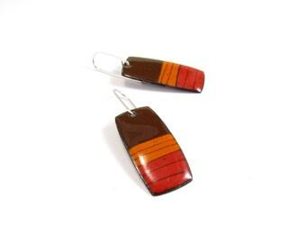 Enamelled Earrings, Modern, Contemporary, Colorful, Orange, Brown, Lines, Enamel, Copper, Sterling