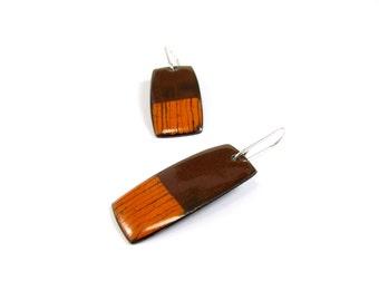 Enamelled Earrings, Modern, Contemporary, Brown, Orange, Color, Sterling, Copper, Enamel, Free Shipping