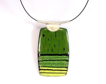 Enamelled Pendant, Colorful, Modern, Contemporary, Geometric, Green, Yellow, Black, Enamel, Sterling, Copper