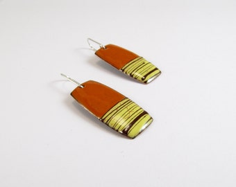 Enamelled Earrings, Color, Brown, Lines, Orange, Contemporary, Moden, Enamel, Sterling, Copper