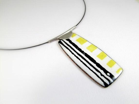 Enamelled Pendant, Modern, Contemporary, Yellow,  Squares, Black,  Lines, Colorful, Enamel, OOAK
