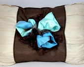 Blue Vintage Roses Organza Chocolate Brown Beige Tan Pillow by Tutti Fiori Designs