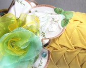 Vintage Corduroy Cylinder Pillow Yellow Aqua Embroidery Handkerchief Organza Flower by Tutti Fiori Designs