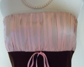 Vintage 1980s/1990s - Flirty Strapless Pink and Brown Silk Cotton A Line Dress with Bow Detail