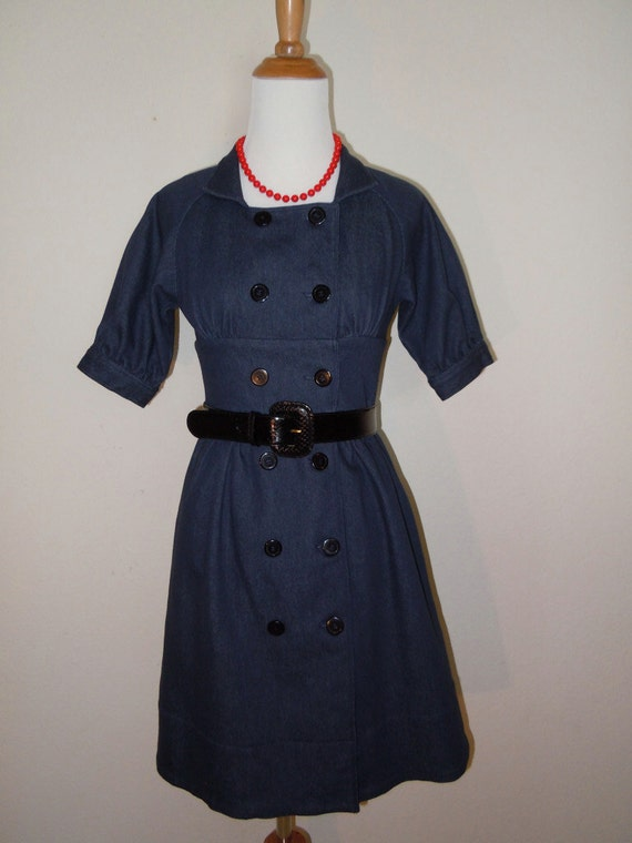 Vintage Stretch Denim Jean Coat Dress with double breasted button detail