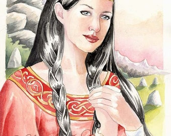 Red Dragon & Celtic Woman Original Watercolour fantasy painting 8.5 x 11.5 inch