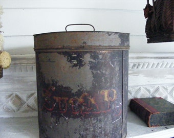 "Large Antique Rustic 11 "" Tall Sugar Tin:  Large, Old-Fashioned Victorian Tin"