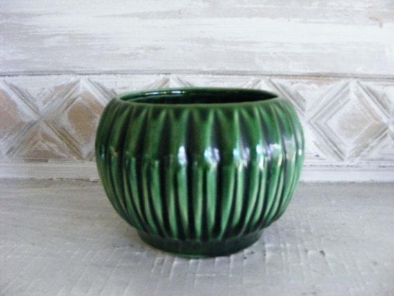 Vintage Ribbed Melon Ceramic Planter