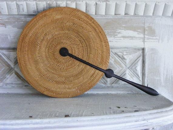 Victorian Cottage Seaside Hand Fan of Woven Rattan