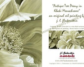 Note Cards Professionally Printed Note Card featuring original J. L. Fleckenstein Oil Painting titled Antique Tree Peony in Khaki Monochrom