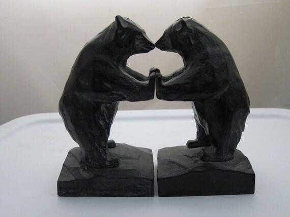 Vintage Bear Bookends Spelter