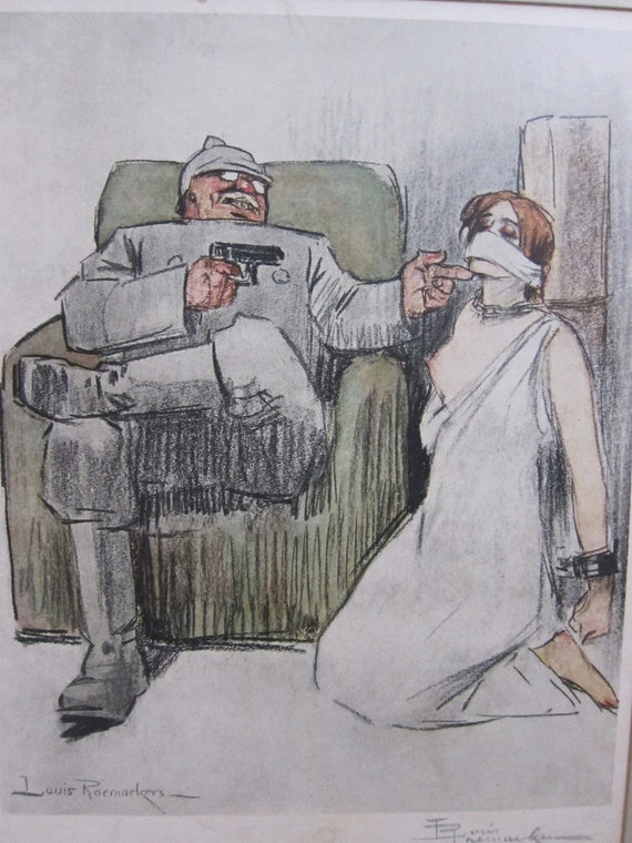 Louis Raemakers WW1 colour print