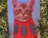 Cat Christmas Sweater Ornament