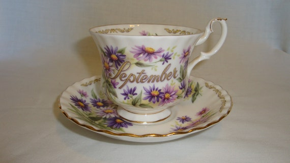 Reserved for Karla Mae - Golden Crown E&R Bouquet of the Month, September-Aster, Cup and Saucer