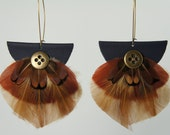 Feather Leaves - Beige, Brown, Rust Feather Earrings Embellished with Antiqued Brass Buttons - FREE SHIPPING