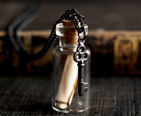 Message in a Bottle Necklace with Tiny Skeleton Key