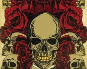 16 x 20 Inch Roses and Skulls Graphic Print