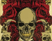 8 1/2 x 11 Inch Roses and Skulls Graphic Print