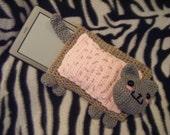 Nyan cat pop tart pocket eBook reader cover pouch for Kindle Kobo ipad meme hand crocheted poptart